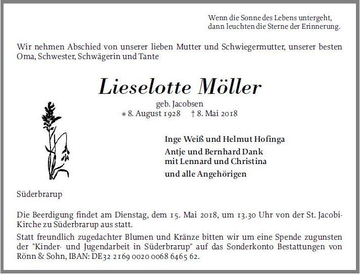 Lieselotte Möller Geb Jacobsen 08 August 1928 8 Mai 2018