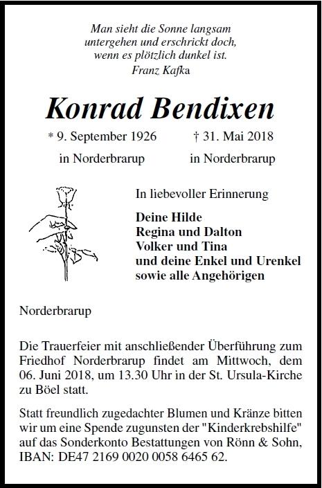 Konrad Bendixen 09 September 1926 31 Mai 2018